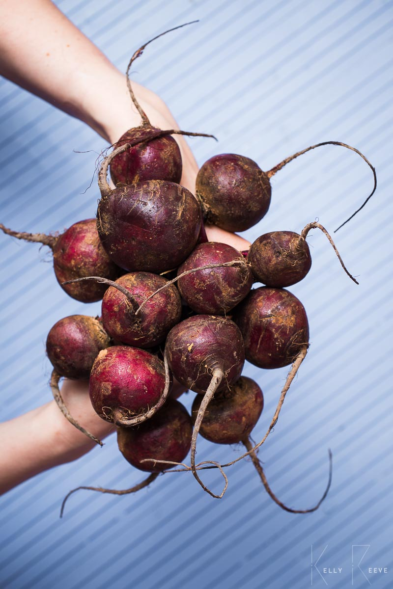 A bunch of raw beets