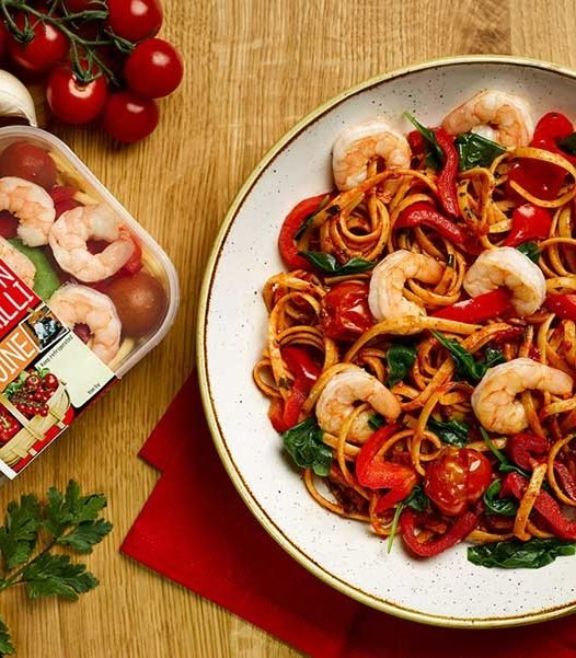 Tomato Chilli Linguine King Prawn