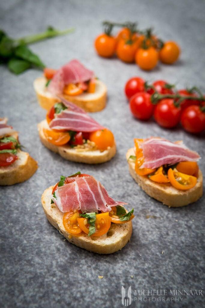 Tomato Ham Bruschetta