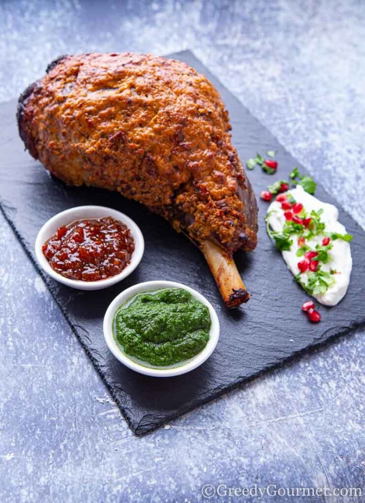 Slow cooked leg of lamb with dipping sauces