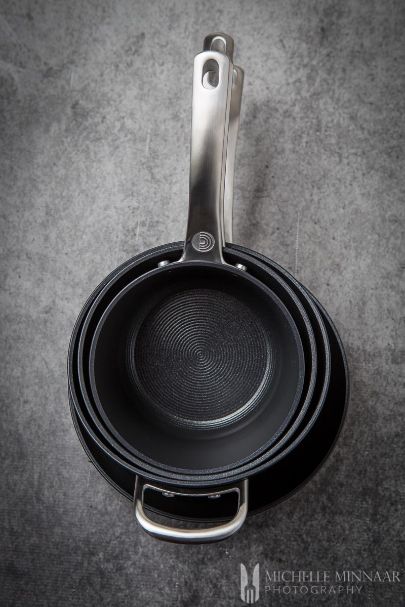 Three cirulon pans on a counter