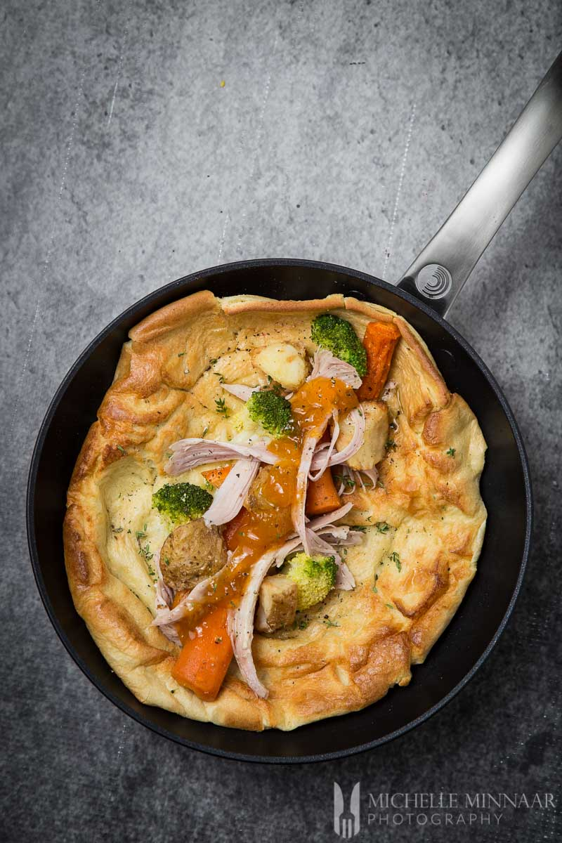 Yorkshire Pudding Wrap with vegetables in a saute pan