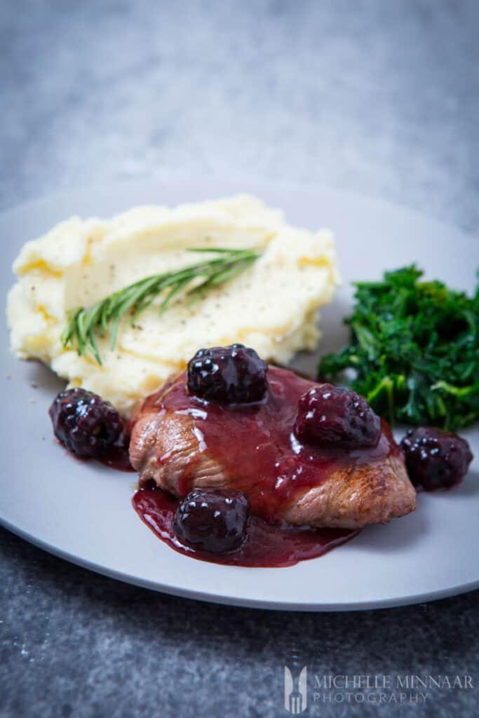 Blackberry Sauce Venison Steak