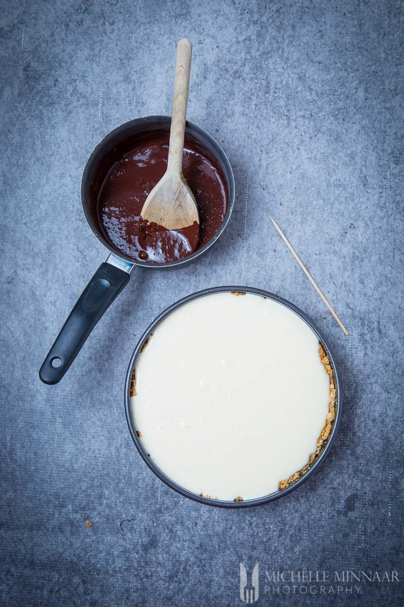 Cake Choc Sauce Plain Cheese