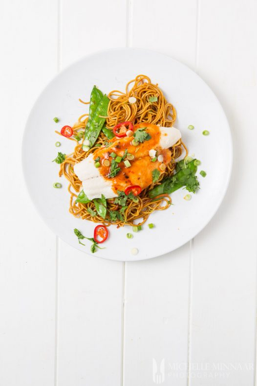 Veg Noodles Baked Basa