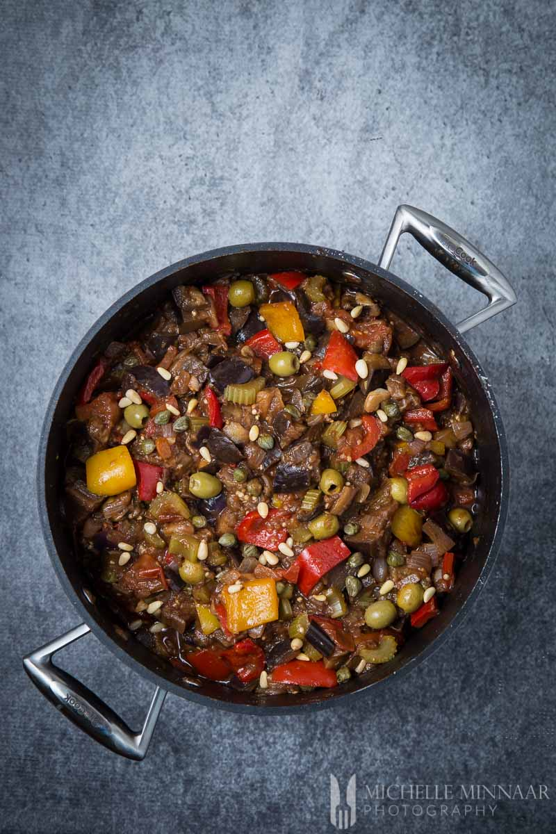 Caponata alla Siciliana in a pot