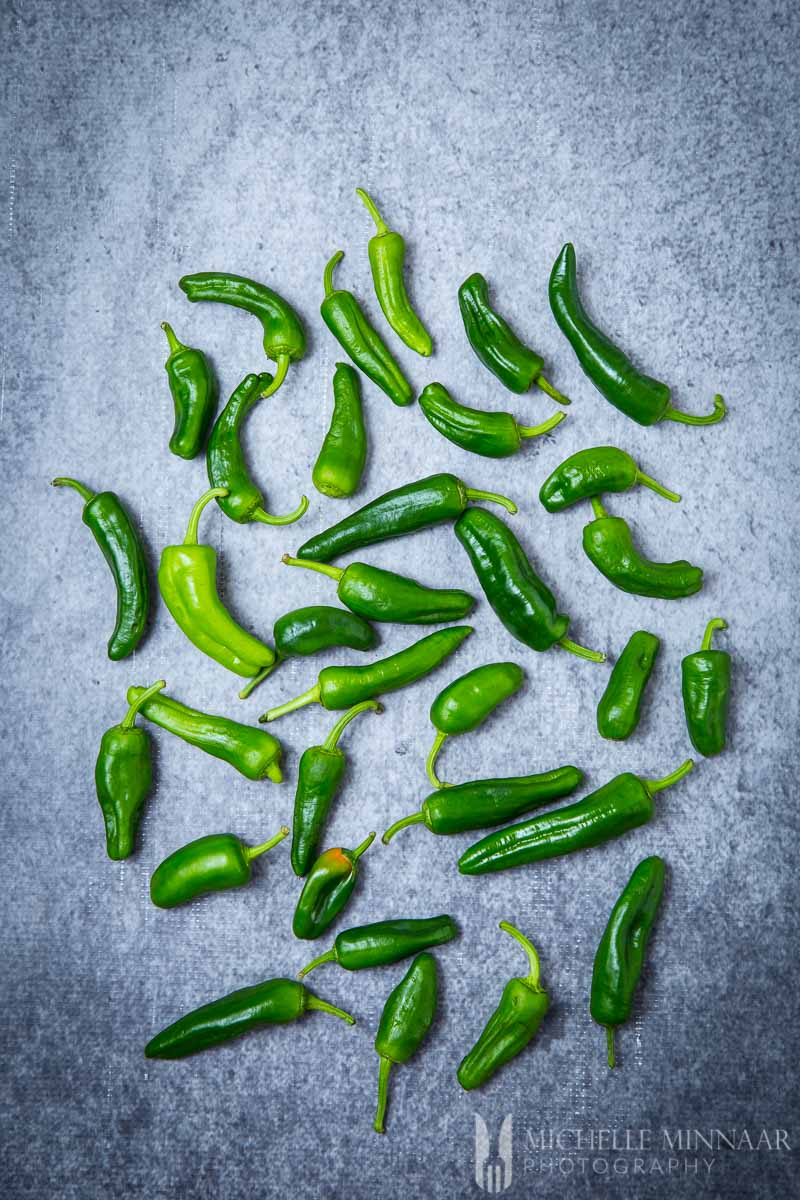 Green Peppers on a counter