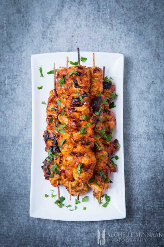 BBQ Chicken Kebabs on a white plate