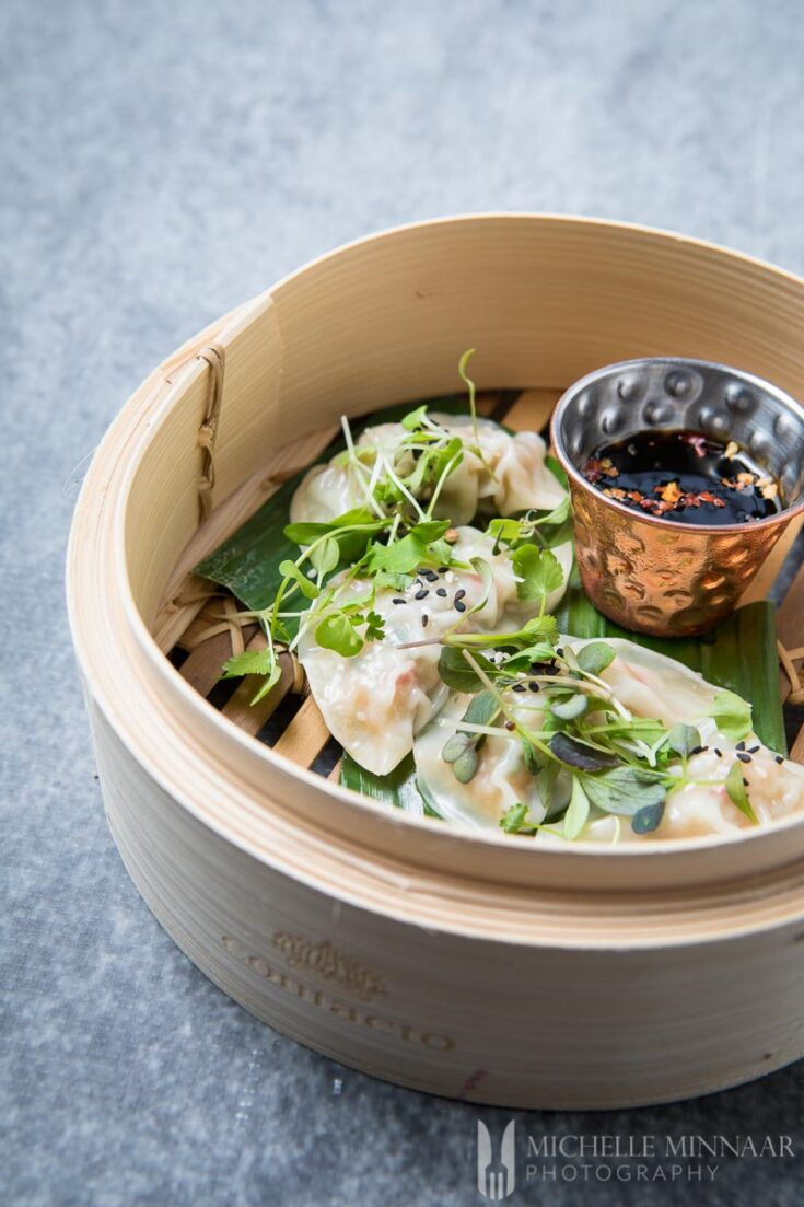 Prawn Dumplings with Soy and Mirin Dipping Sauce