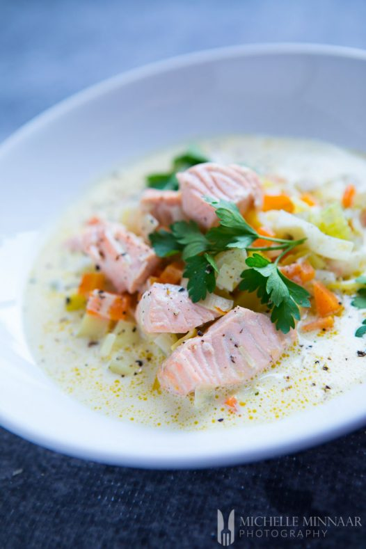 A bowl of Salmon Soup