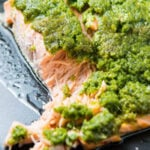 A close up of Pesto Baked Salmon