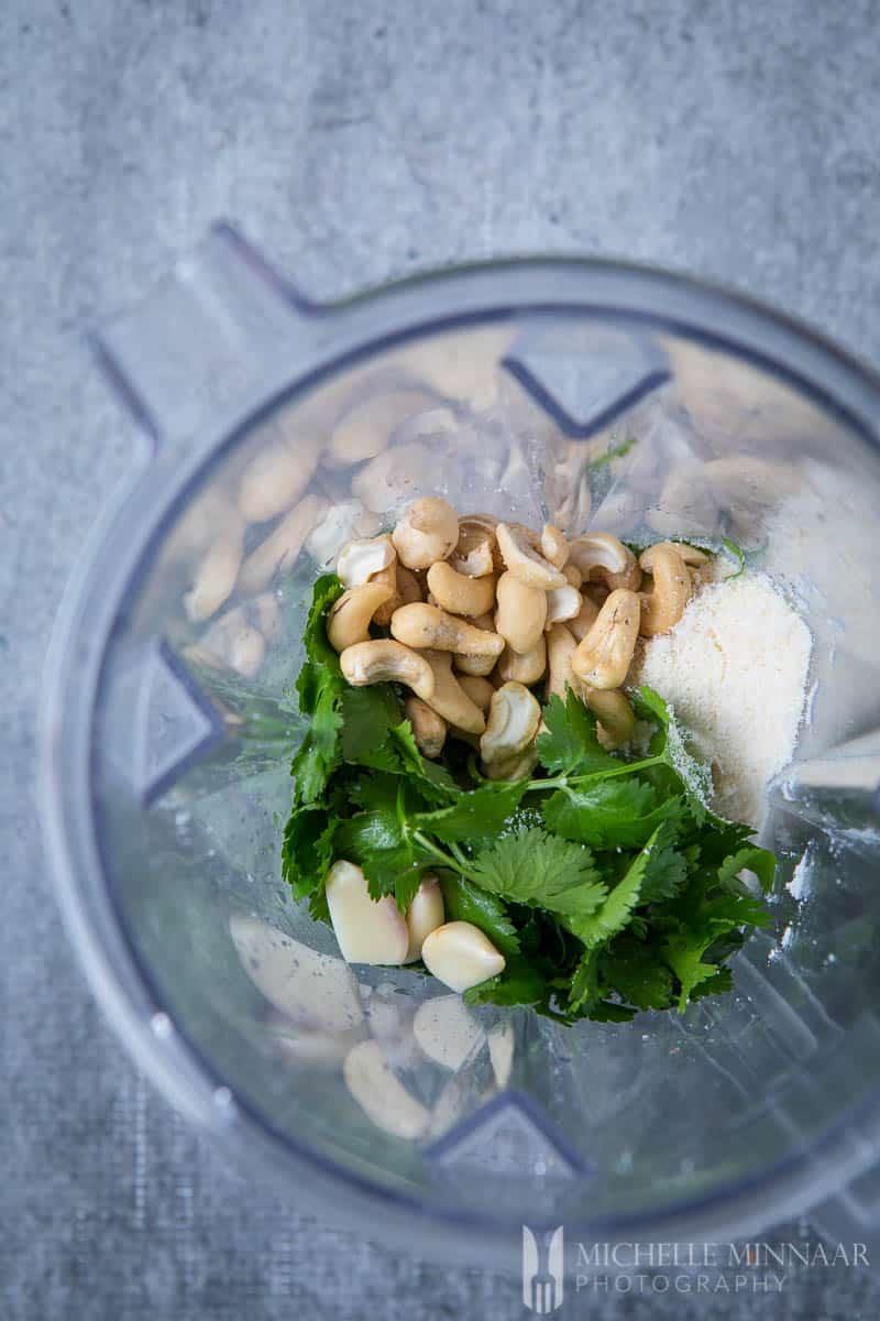 Blender Pesto Ingredients