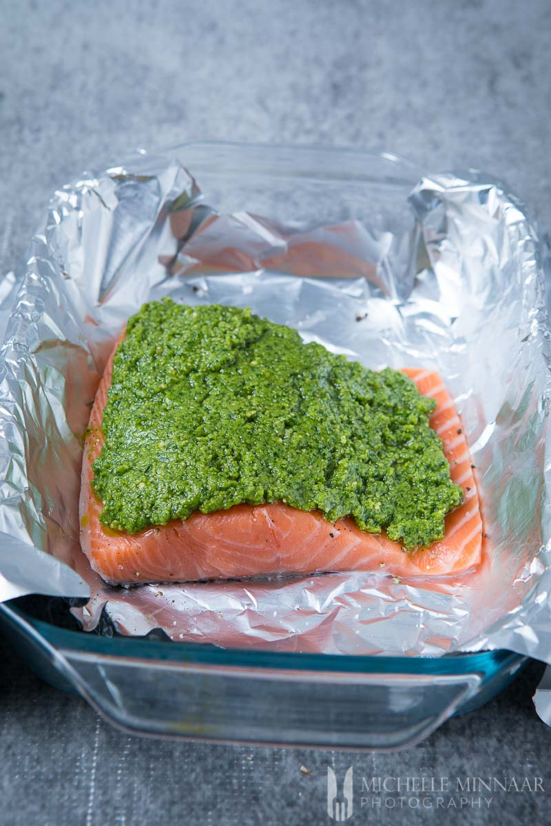 Salmon Foil Pesto Raw