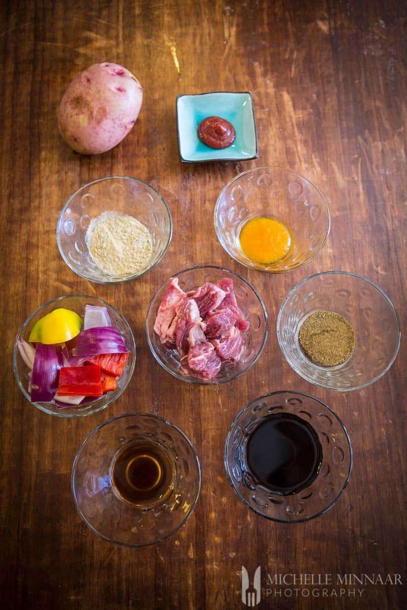 Pepper Spices Potato Pork Onion