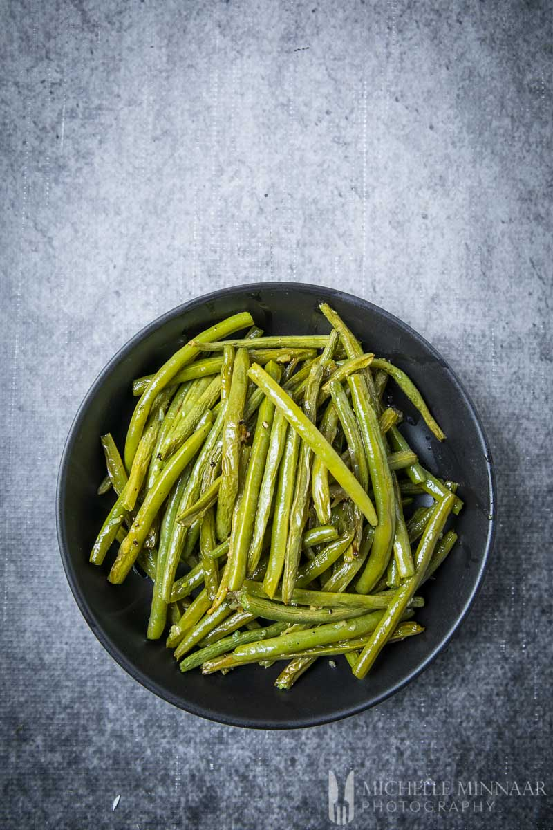 Ariel view of cooked greenbeans