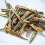 Bhindi Kurkuri - a pile of okra on a plate
