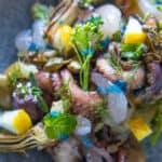 A close up of Octopus Salad