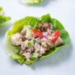 A close up view of Tuna Lettuce Wraps