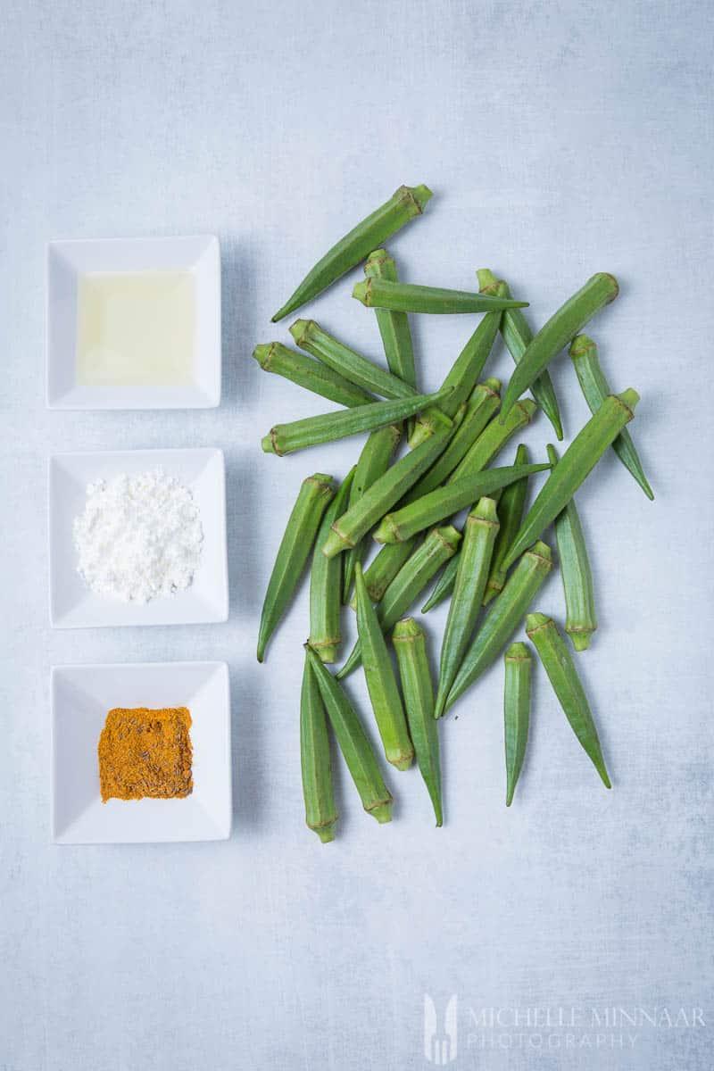 Spices flour oil Okra