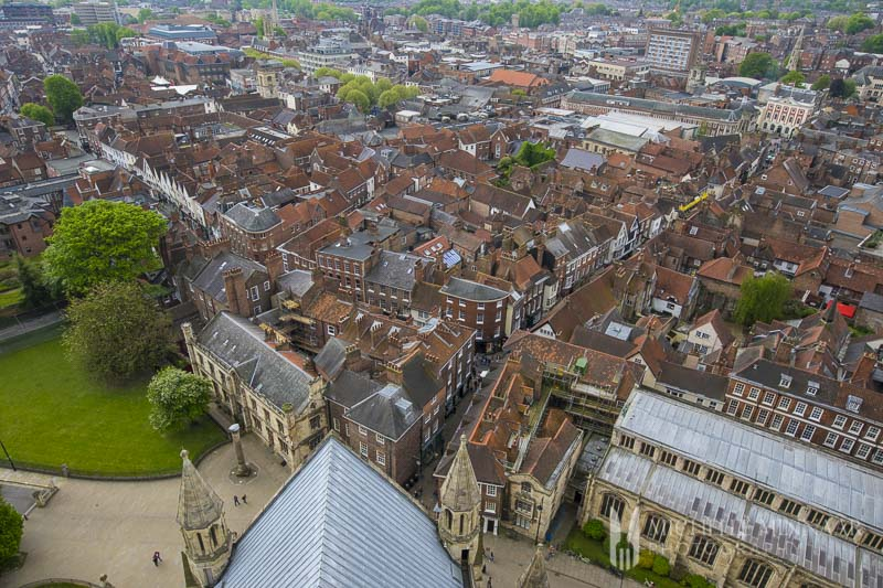 A small town view of York, red rooftops
