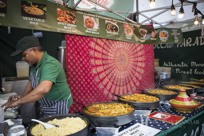 A food vendor in York serving food