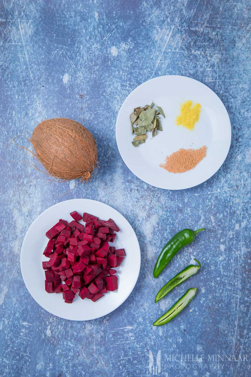 Ingredients for Beetroot Poriyal - Cubed beets Chili Coconut Spices