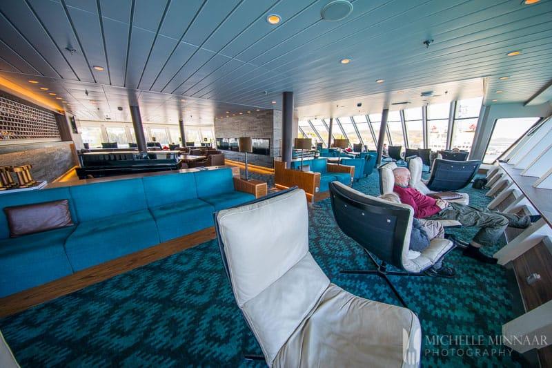 Blue lounge chairs on the hurtigruten cruise