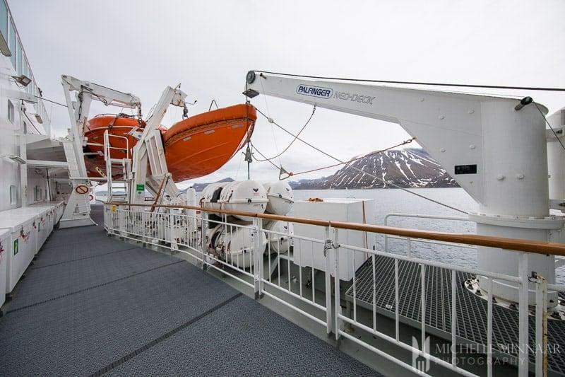 The life boats of hurtigruten cruise