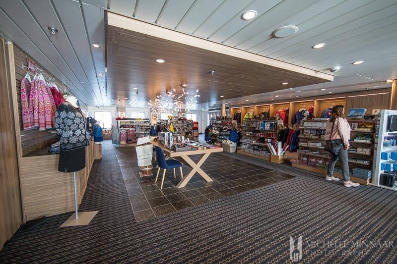 A gift shop on the hurtigruten cruise