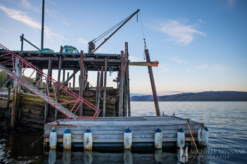 The wooden dock of the king crab