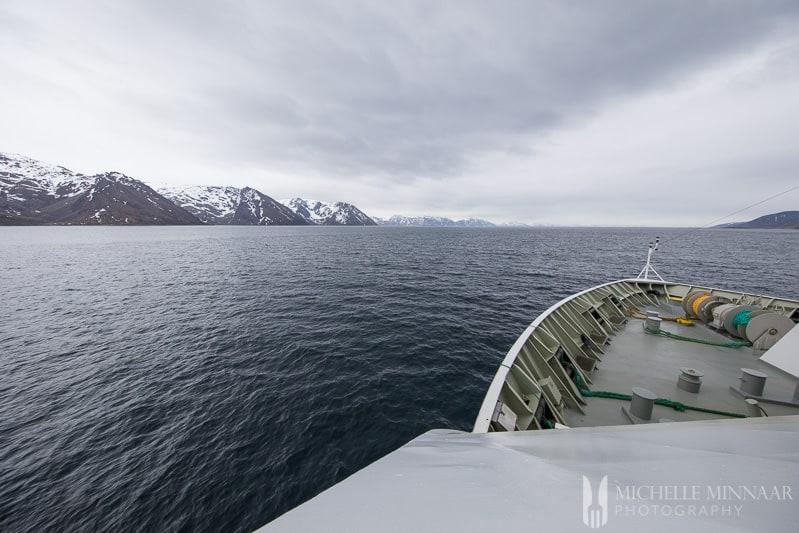 The front of the hurtigruten ship