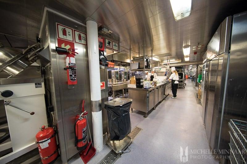 The kitchen of the hurtigruten cruise