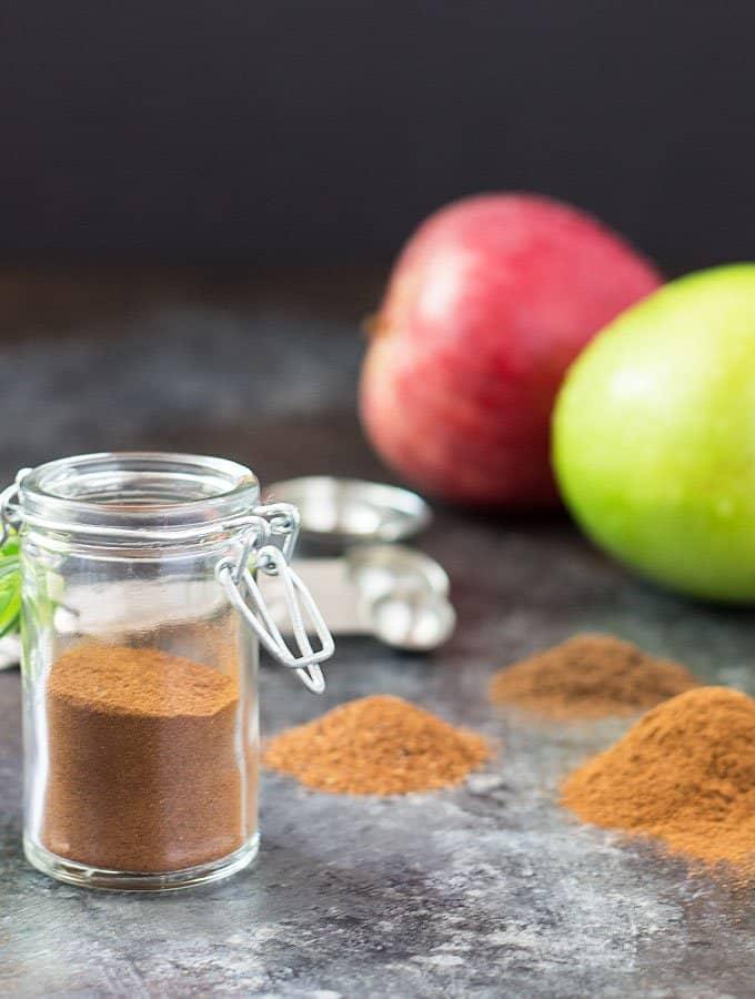 Apple powder spice in a glass jar