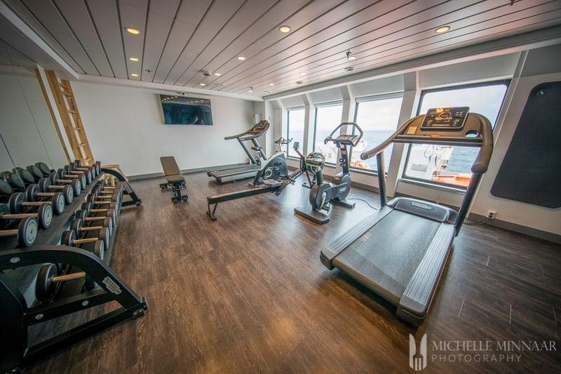 The gym of the hurtigruten cruise