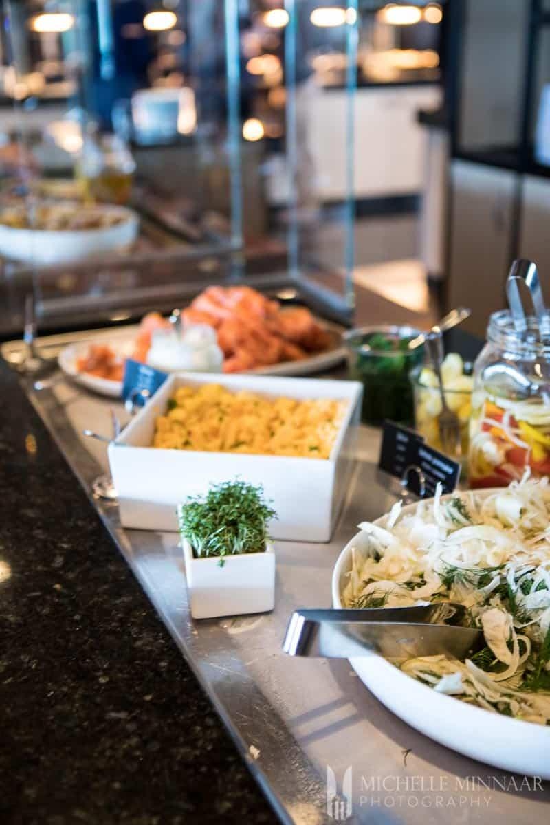 A buffet table on the hurtigruten