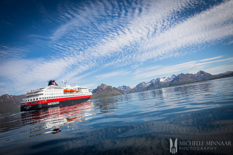 hurtigruten cruiseship in the ocean