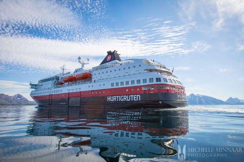 The large Hurtigruten ship