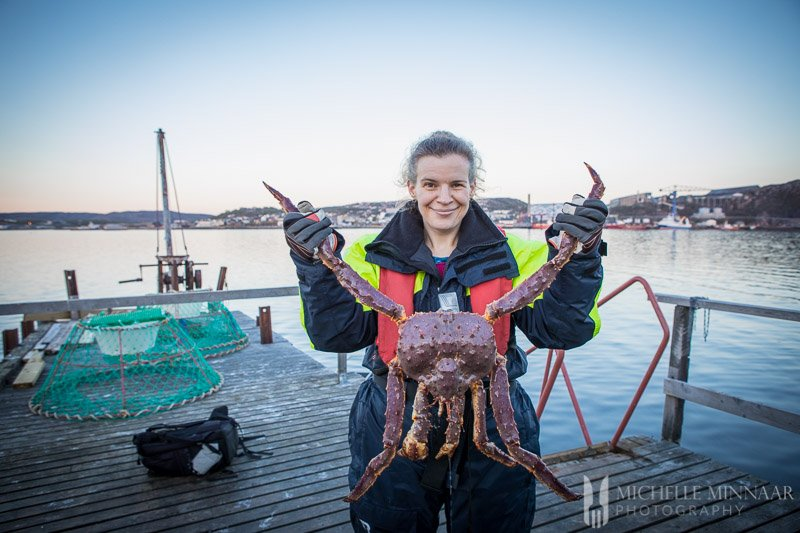 Michelle holding a King Crab