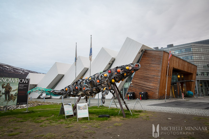 A large metal sculpture outside the museum