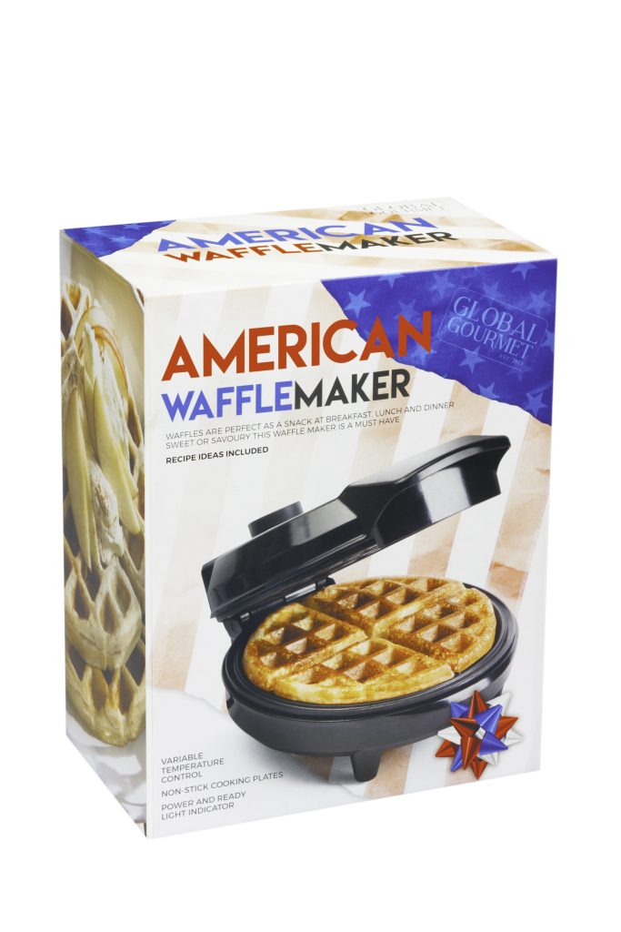A box with a waffle maker inside