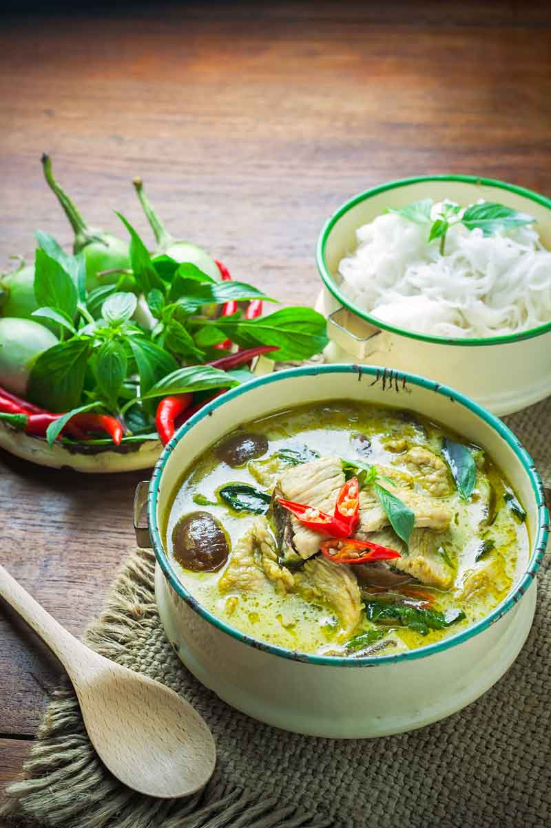 Bowl of green curry thai dish