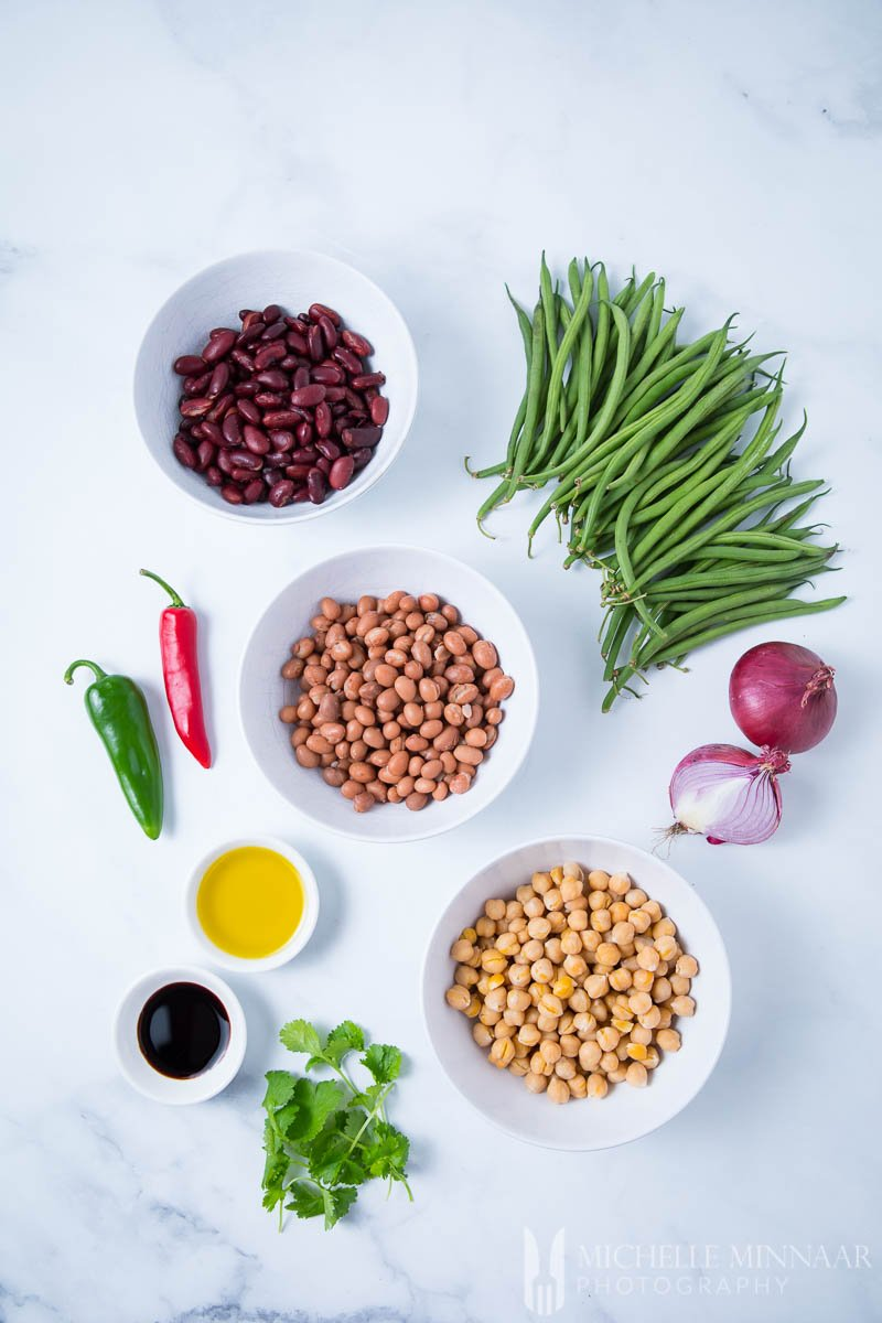 Ingredients for a 4 bean salad Green Beans Red Kidney Pinto Garbanzo