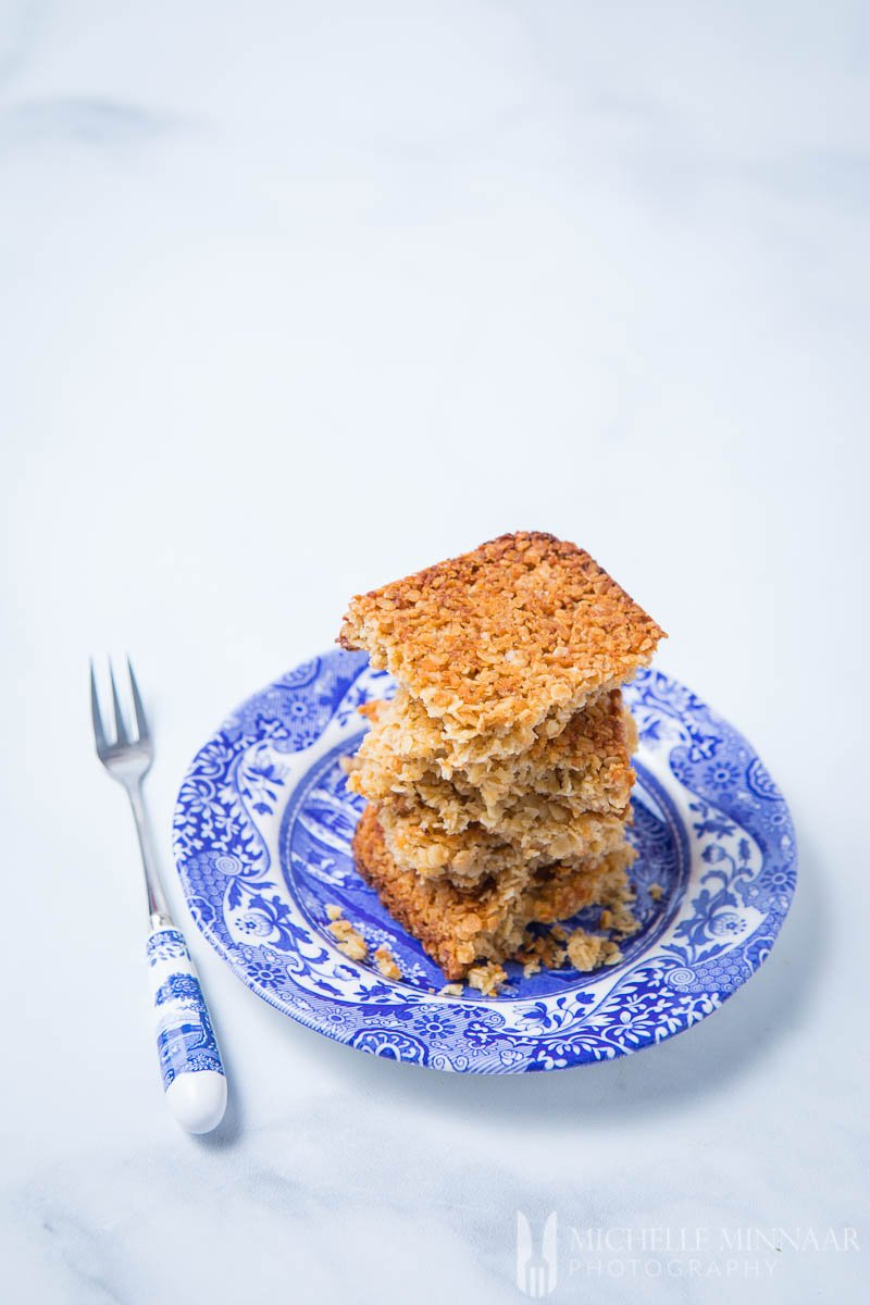 Sugar Free Flapjacks on a blue and white plate and fork