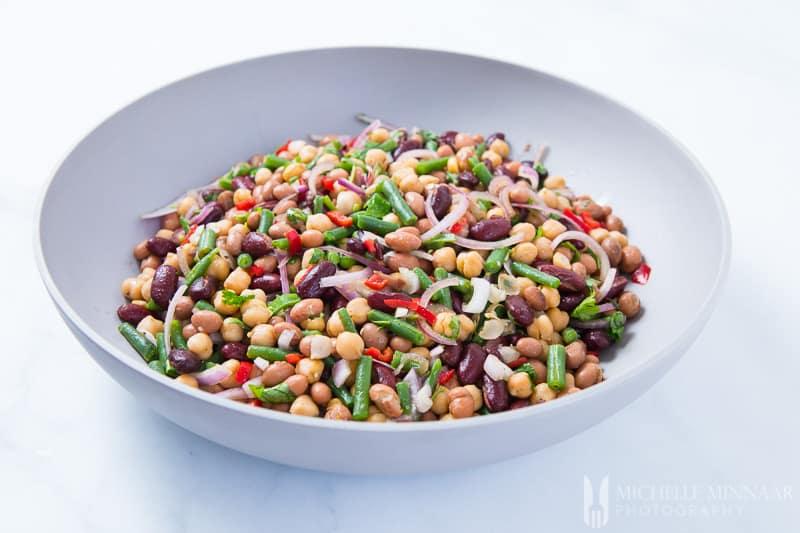 A bowl of 4 bean salad