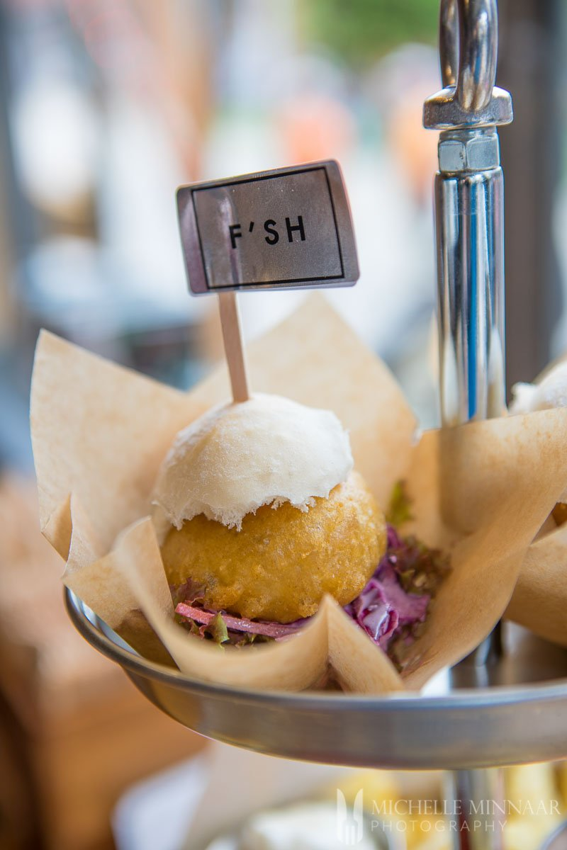 A clam slider at the Grosvenor Fish Bar Norwich