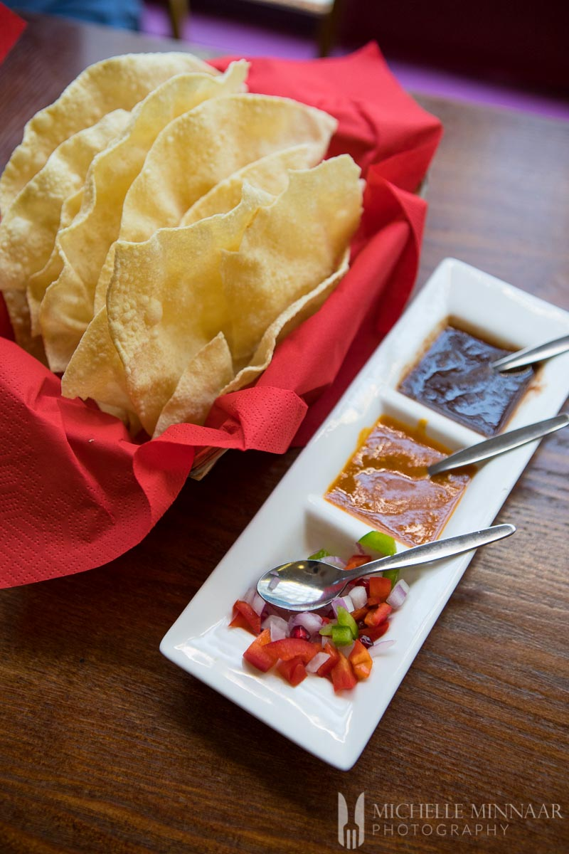 Chutney Pappadums - Chips with three dipping sauces