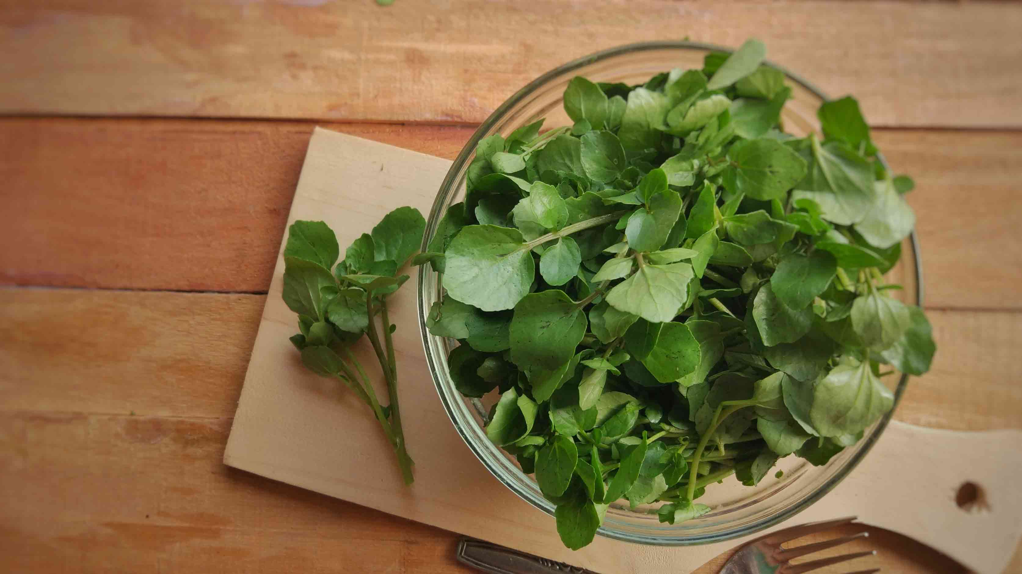 A bunch of watercress leaves