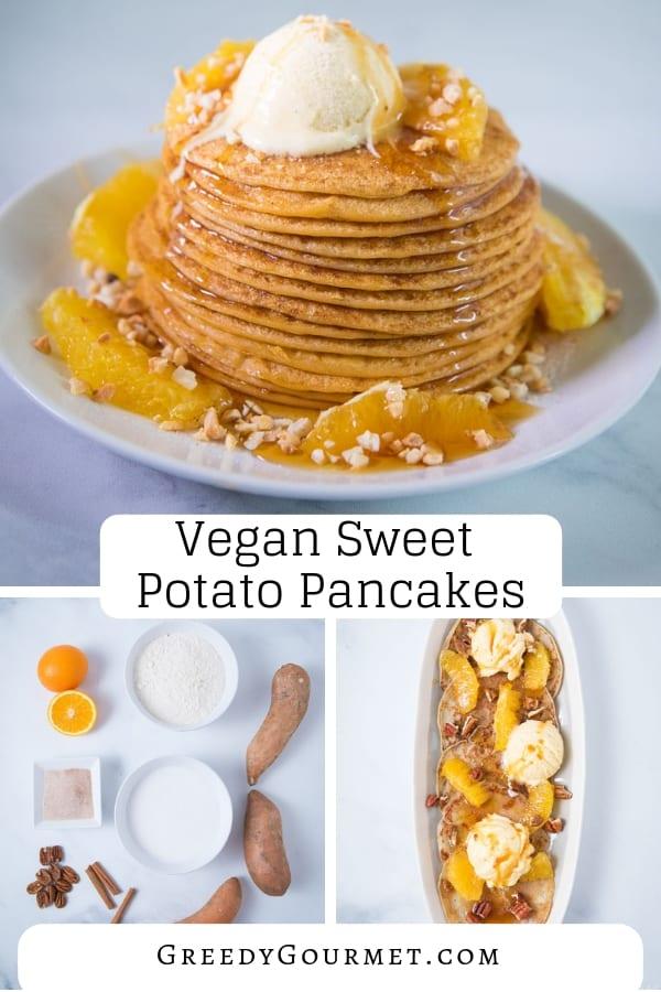 vegan sweet potato pancakes pin