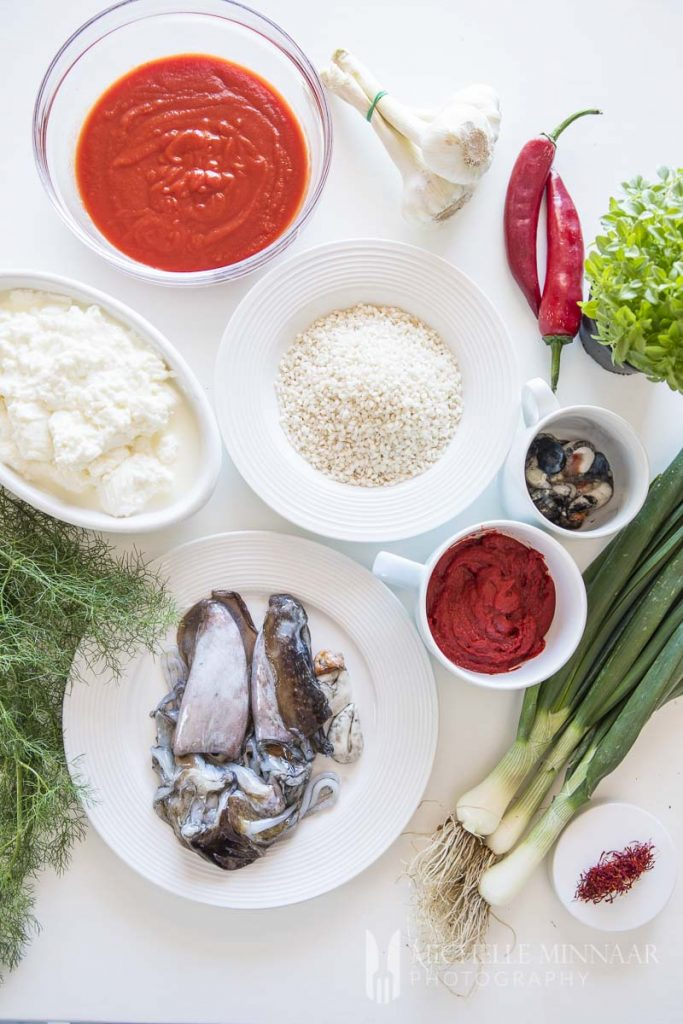Ingredients for risotto on a table