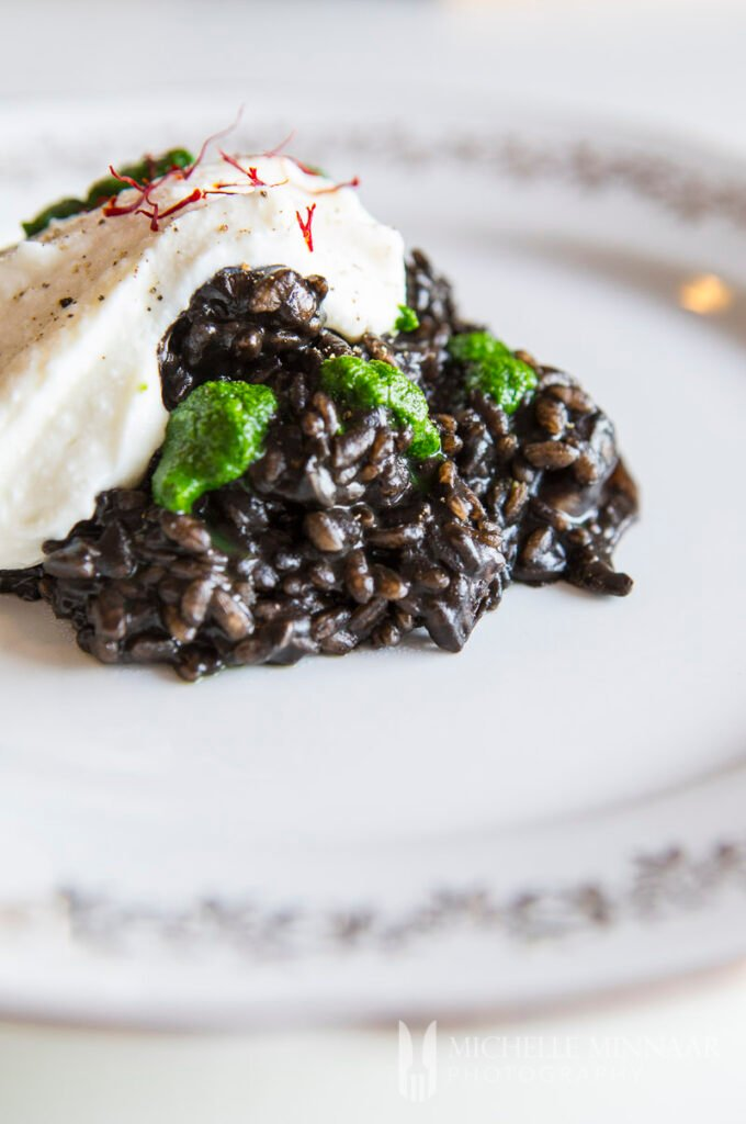 A pile of Squid Ink Risotto